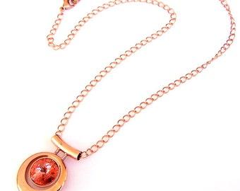 Rose Peach and Copper necklace, Swarovski copper pendant necklace