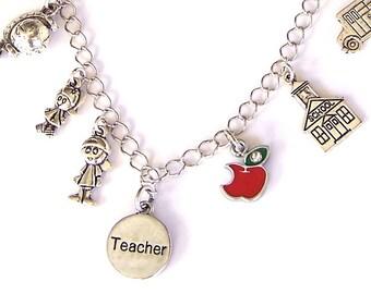 Special teacher necklace, best teacher charm necklace, teacher gift, school, love to teach, teacher appreciation gift, back to school gift