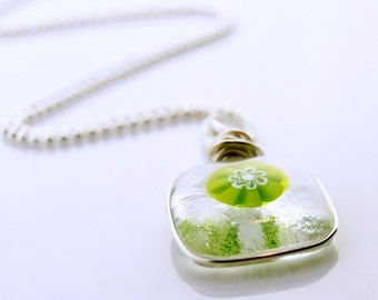 Green Flower Necklace, Lime Green Necklace, Floral Glass Pendant, Fused Glass Necklace