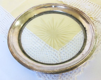 Vintage Small Sterling Silver and Glass Plate Dish Bowl Small Tray Wine Coaster Star Burst Antique Serving Pieces DIY Wedding