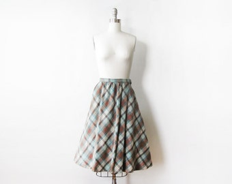 wool plaid skirt, vintage 60s skirt, teal and brown plaid skirt