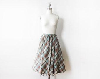 60s plaid skirt, vintage 60s wool skirt, teal and brown knee length midi skirt, extra smal xs