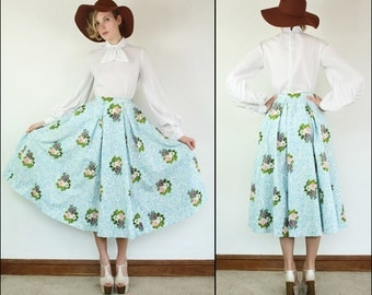 Vintage 50's Floral High waist Flared Full circle Preppy Dolly Boho Baby blue Cotton Midi skirt XS