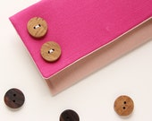 Pink Linen Clutch, Pink Bridesmaid Clutch, Rustic Clutch, Color Block Clutch, Purse with Wood Buttons, Unique Clutch