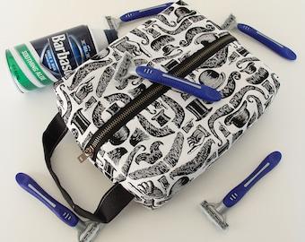 Mens Shaving Kit, Dopp Kit, Travel Kit, Vegan Shaving Kit, Travel Case, Shaving Bag - Mustaches and Top Hats, Toiletries Bag, Groomsmen Gift