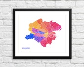 Roanoke VA Art Map Print.  Color Options and Size Options Available.  Map of Roanoke.