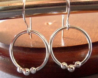 Argentium Silver Earrings, Hand Forged, Hand Made, Sterling Silver, Round Dangle Earrings