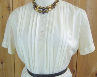 Vintage 50's Nylon Blouse Vanilla Cream Yellow Semi Sheer, Tuck Pleats, Short Sleeve, Back Button, Jami Originals, Skirt, Suit Top, Bust 38