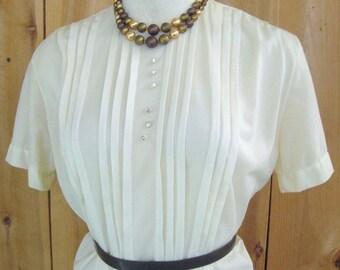 Vintage 50's Nylon Blouse Vanilla Cream Semi Sheer, Tuck Pleats, Short Sleeve, Back Button, Jami Originals, Skirt or Suit Blouse, Bust 38