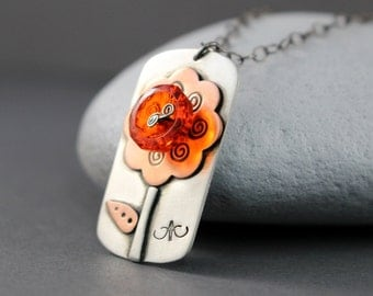 Orange Poppy Necklace, Sterling Silver Flower Necklace, Poppy Necklace, Silver Necklace