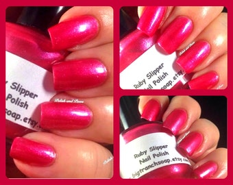 Nail Polish - Red with Micro Flakes - RUBY SLIPPER - Custom Blended Polish/Lacquer - 0.5 oz Full Sized Bottle
