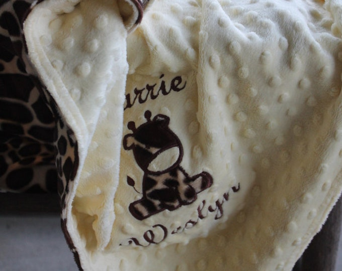 Giraffe Baby/Toddler/Kids Minky Personalized Monogrammed Embroidered Soft and Comfy Chenille School Nap Nursery Newborn Baby 28x30 Blanket