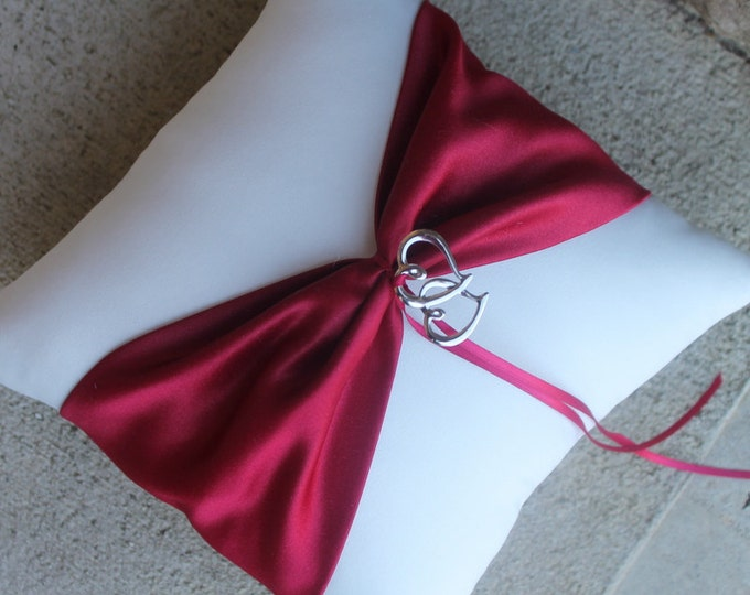 Wedding Ring Bearer Pillow, Wedding Decor, Design Your Own, Double Heart, Apple Red, Personalize Embroider It, Bridal Gift, Custom Design