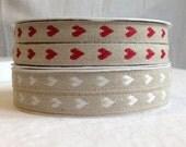Natural Woven Linen Ribbon - Hearts - 3 metre length - Red Hearts / White Hearts