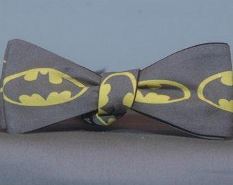 Big Batman Signal on Charcoal  Bow tie