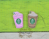 Embroidered Starbuck Inspired Frappuccino Frap Felt Felties Bow center embellishment UNCUT set of 4 felts