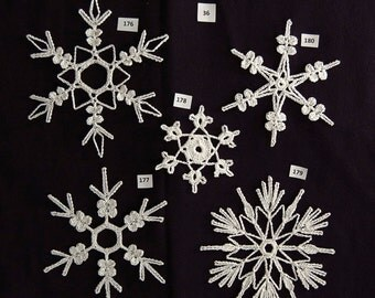 PDF Pattern for 5 Crocheted Snowflakes - set 36