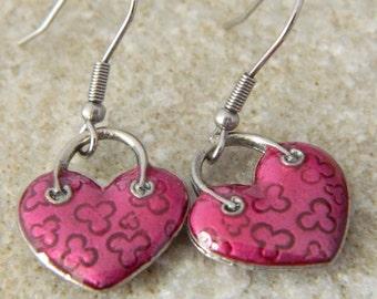 Pink Enameled Heart Earrings