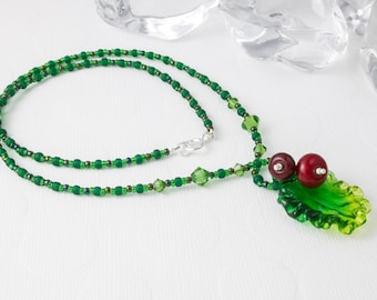 "Lampwork Necklace ""Holly"""