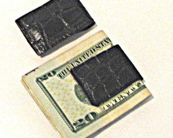 Thin Brown Embossed Crocodile Cowhide Money Clip Handmade