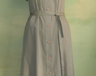 M L 70s Khaki Summer Day Dress Casual Modest The Kollection