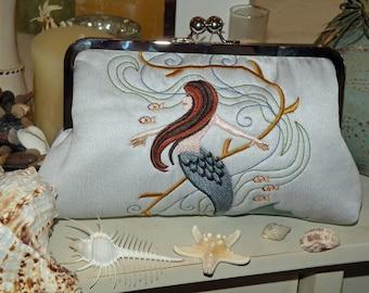 Embroidered Mermaid Silk Clutch/Purse/Bag..Bridal Wedding Gift..Limited Edition..Slate Blue Silk kimono fabric..Slate/Sea Blue