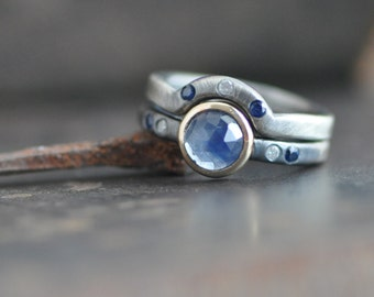 rose cut blue sapphire ring, sterling silver, with matching shadow band and 14k gold bezel