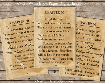 Antique Book Page Digital Invitation C-623 Personalized for Wedding, Shower, Bridal, Birthday Party