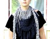 Chunky cotton triangle fringe scarf - Two tone Grey & Light grey