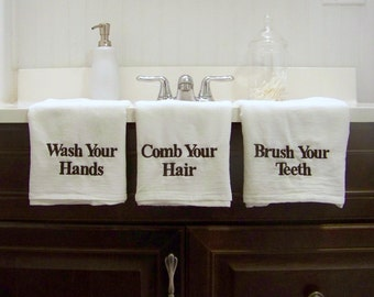 set of 3 embroidered towels - wash your hands - comb your hair - brush your teeth - personalized - custom - tea towels - flour s