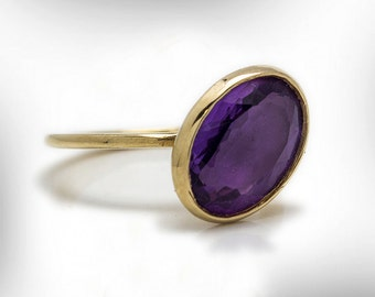 Amethyst Ring, February Birthstone, Statement Ring, Birthstone Ring, Rose Quarz Ring, Genstone Jewelry Ring, 9k Gold Ring, Free Shipping