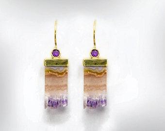 Gold Earrings 14k, Raw Amethyst Earrings, February Birthstone, Gemstone Dangle Earrings, Gold Stone Earrings, Birthday Gift, Free Shipping