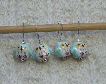 Owl Knitting Stitch Markers - snag free - ceramic owl beads - aqua blue green - large loops fit needles up to size US 13 (9mm)