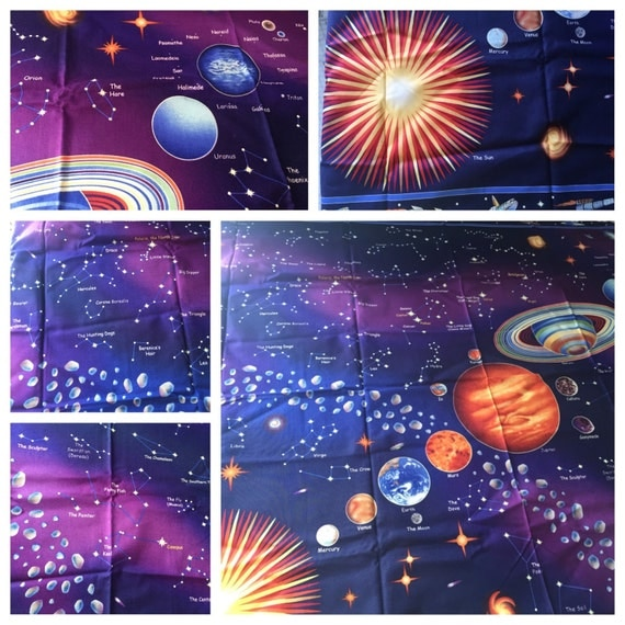 Solar system glows in dark boutique crib nursery toddler for Solar system fabric panel