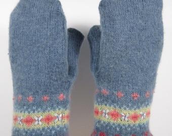 Multi Design Blue Grey Shrunken Sweater Mittens(m29)