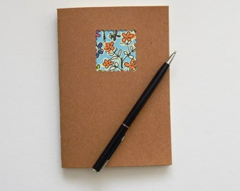 Yellow Floral Moleskine style Notebook with Cream paper - 6 x 4 ins journal, pocket note book