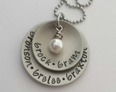 JBK Custom hand stamped layered disc necklace with Swarovski pearl