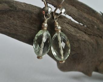 AAA Pale Green Prehnite- Bali Silver Earrings- Gemstone