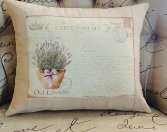 Carte Postale Provence Lavender Flowers Pillow Cover, French Country Throw Pillow,  Cottage Style Pillow