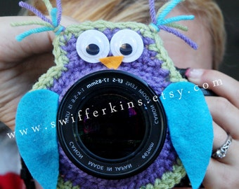 Camera lens buddy. Crochet lens critter owl. Photographer helper