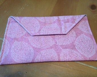 Mini Ipad, Nook and/or Kindle tablet cover - Pink with Leaves