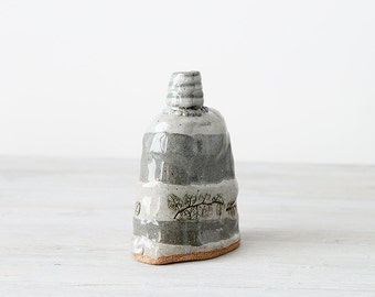 Gray hand built striped flask or bottle