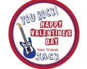 Personalized Stickers, Valentine Stickers, Guitar sticker, Rock party sticker, Personalized Stickers Set of 24