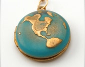 Locket Necklace World Globe Map Jewelry Locket Necklace Planet Earth Jewelry Brass Gold on Long Chain Galaxy Turquoise Ocean Sea