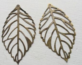 12 pc - Antique Bronze and Silver -  vintage style filigree leaf pendant
