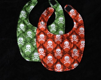 Sale orange and green small halloween skull and crossbones baby bibs
