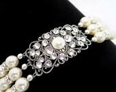 Cuff bracelet, Bridal bracelet, Pearl bracelet, Wedding bracelet, Swarovski crystal bracelet, Vintage style bracelet, Antique silver cuff