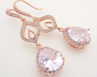 Rose Gold Bridal earrings, Crystal Wedding earrings, Rose Gold earrings, Wedding jewelry, Teardrop earrings, Simple earrings, CZ earrings