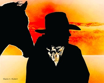 Texas Cowgirl Art, Southwestern Sunset, Horses Equine Rodeo, Woman Silhouette, Orange Black Home Decor, Wall Hanging, Giclee Print, 8 x 10