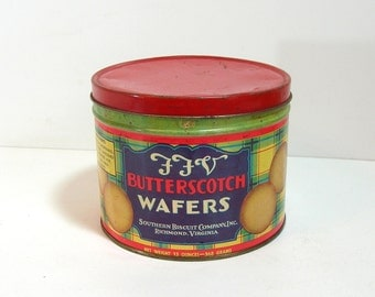 Southern Biscuit Company, F F V Butterscotch Wafers Tin